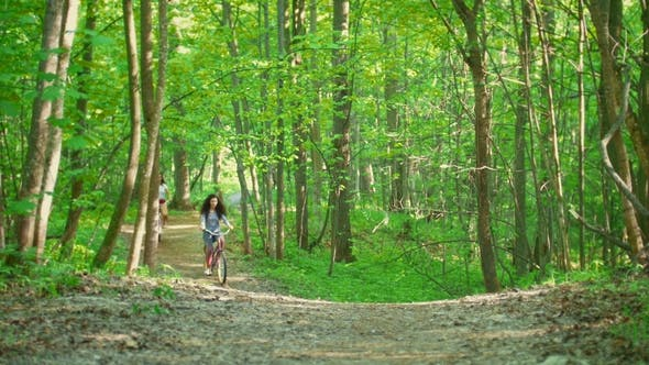 Thumbnail for Two Girls on Bicycles Climb the Path to the Hill in Green Forest