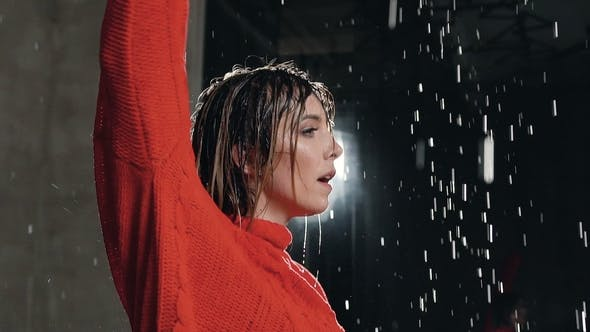 Thumbnail for The Girl Who Dances in the Rain. Wet Dancer Practicing Dance During the Water Rain in the Studio