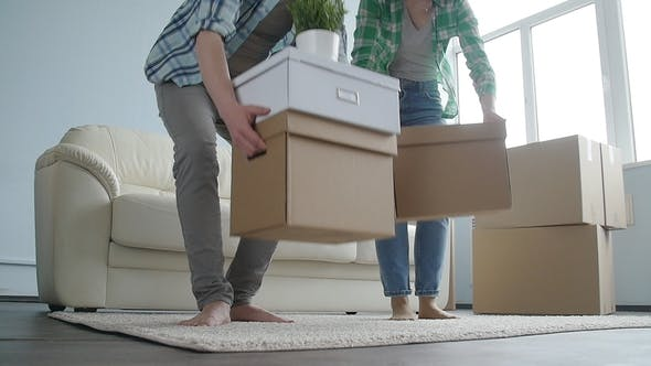 Thumbnail for Happy Young Couple with Cardboard Boxes Moves to New Apartment