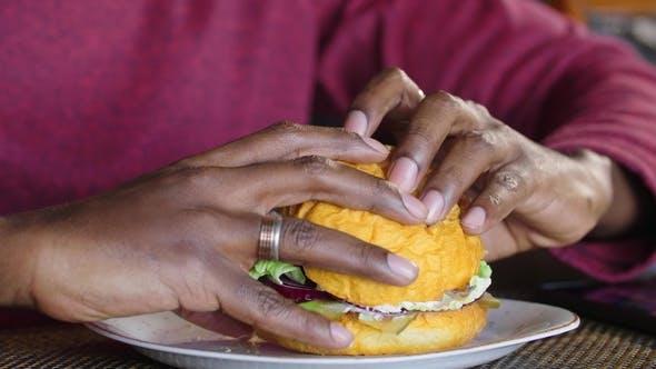 Thumbnail for Happy Fat African American Man Eating a Hamburger.