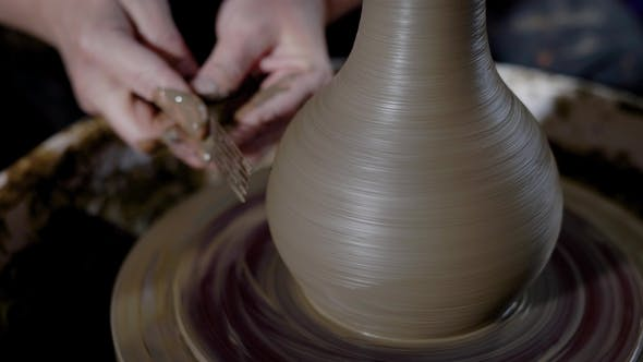 Thumbnail for Crop Hands of Talented Master Shaping Clayware and Creating Masterpiece on Potter's Wheel in