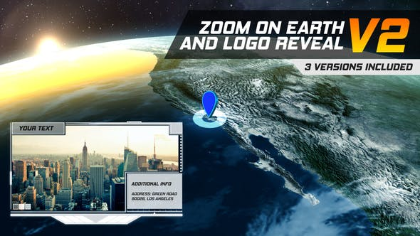 Thumbnail for Zoom On Earth And Logo Reveal V2