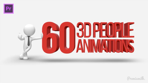 Thumbnail for 3D People Animations Essential Graphics | Mogrt