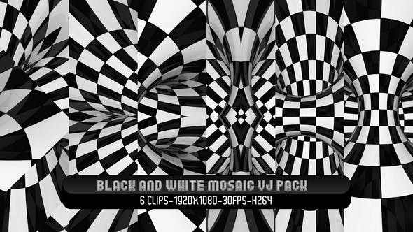 Black and White Mosiac VJ Pack
