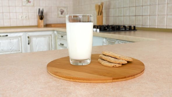 Thumbnail for of a Glass of Milk with Healthy Crunchy Breakfast