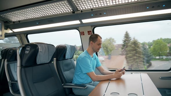 Thumbnail for Man Making Photo while Travelling by Train