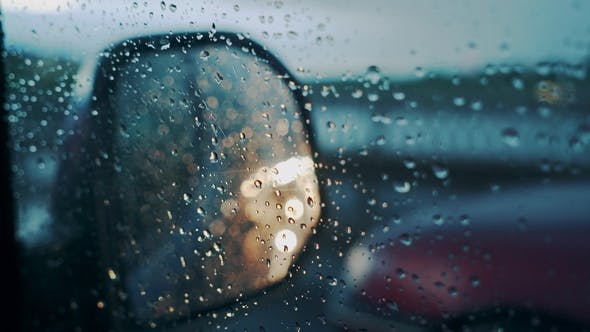 Thumbnail for Windscreen at the Time of the Rain. Mirror of Car