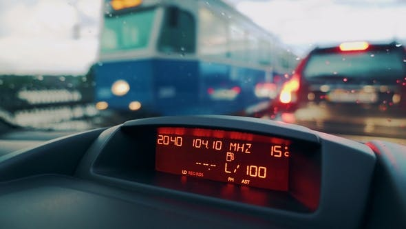 Thumbnail for Driving a Car in Traffic Jam in Bad Weather Conditions. Car Dashboard.