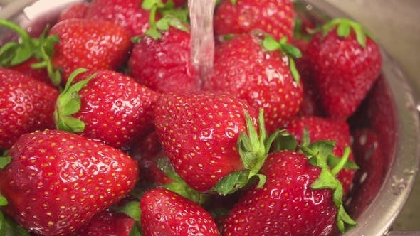 Thumbnail for Strawberry in a Metal Colander under the Water