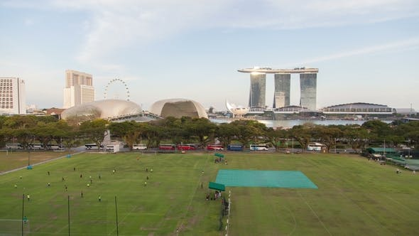 Singapore Panorama with Sports Ground and Esplanade