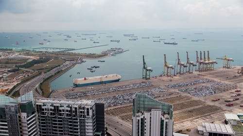 Harbor with Ships in Singapore Strait