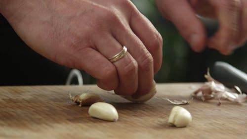 Chef Peeling Garlic