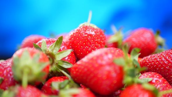 Thumbnail for Fresh Strawberries in a Bowl at Blue Background