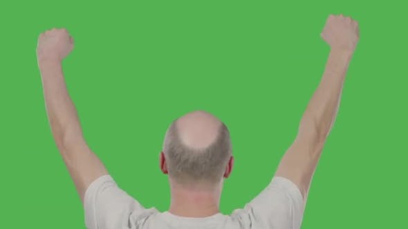 Thumbnail for Successful Bald Man Celebrating with Hands Up on Keyed Green Screen. Alpha Channel