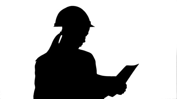 Thumbnail for Silhouette Female Engineer in Helmet Reading Contract and Nodding Her Head