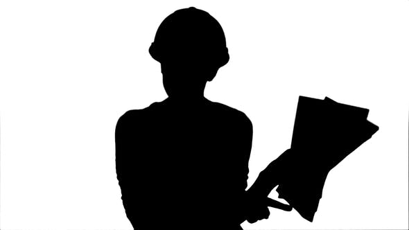 Thumbnail for Silhouette Angry Female Engineer in Hardhat with Documents Shouting and Pointing Finger Into the