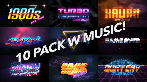4K 1980s 10 Logo Text Intro Pack