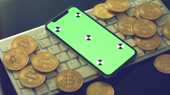 Thumbnail for Mobile Phone with Gold Bitcoins