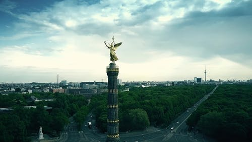 Famous Berlin Victory Column and Cityscape