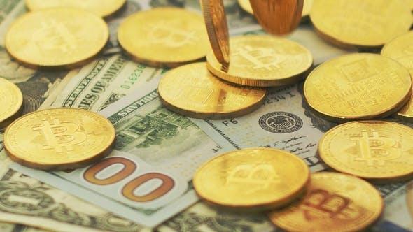 Thumbnail for Goldene Bitcoins und Geldscheine