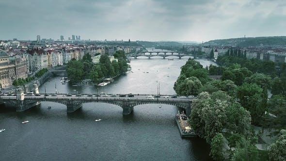 Thumbnail for Bridges in Prague Across the Vltava River