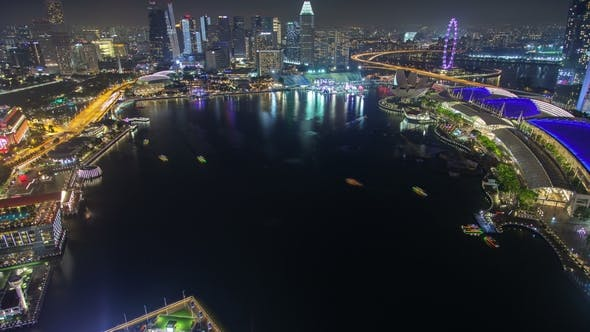 Thumbnail for Singapore Cityscape Aerial with Ferries Night