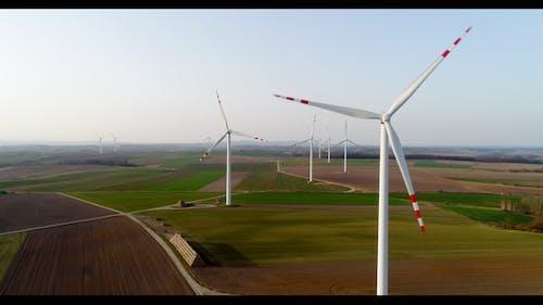 Aerial Wiev of Windmills Farm. Power Energy Production