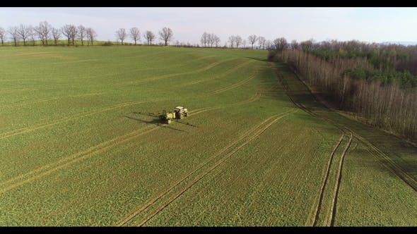 Thumbnail for Tractor Spray Fertilize on Field with Chemicals in Agriculture Field