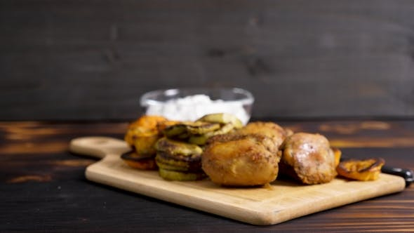 Thumbnail for Healthy Dinner Made of Grilled Vegetables and Fried Chicken