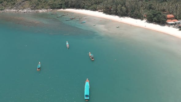 Thumbnail for Flying Over Amazing White Sand Beach and Tropical Lagoon with Boats