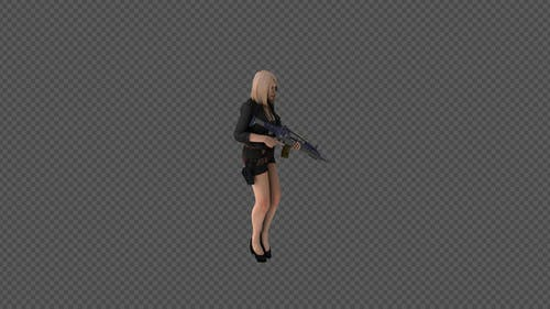 Woman Holding A Hand Gun And Walk Pack 6In1