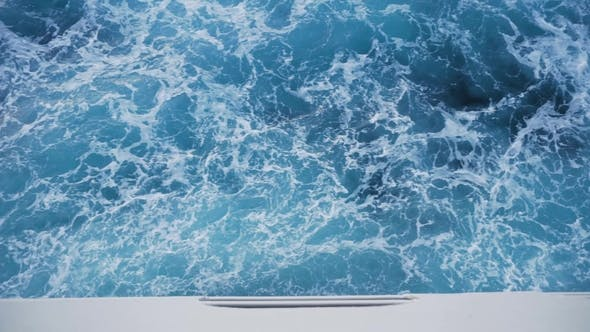 Thumbnail for View From the Cruise Ship on the Waves From the Board. Stock. Beautiful Vacation on the Sea on a