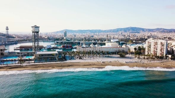 Top View of the Modern City By the Sea. Stock. Beautiful City on the Beach on a Sunny Day