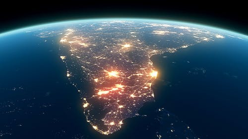 4K Earth Night Close Up High Detail India