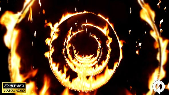 Thumbnail for Flying Through Fire Circle Tunnel With Falling Flames - Background Loop