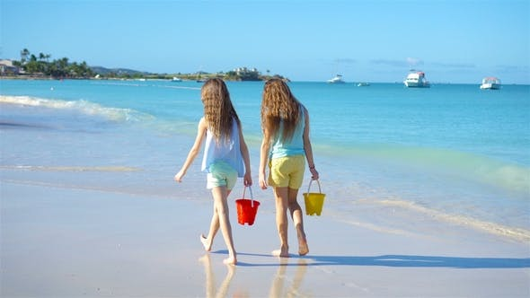 Thumbnail for Adorable Little Girls Walking on the Beach and Having Fun Together