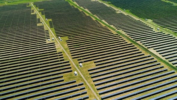 Thumbnail for Areal Flight Over Solar Panels Field.