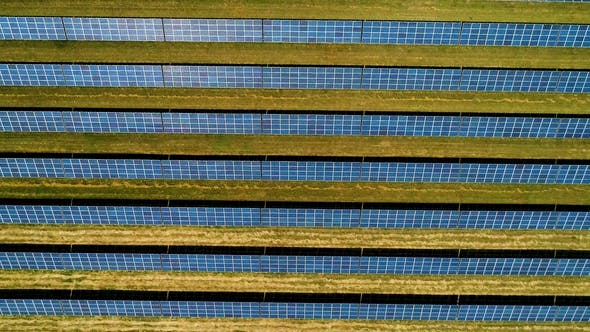 Thumbnail for Areal Flight Over Solar Panels