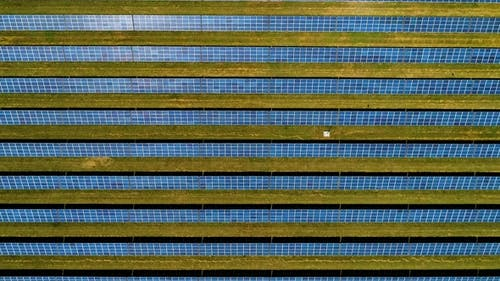 Areal Flight Over Solar Panels.
