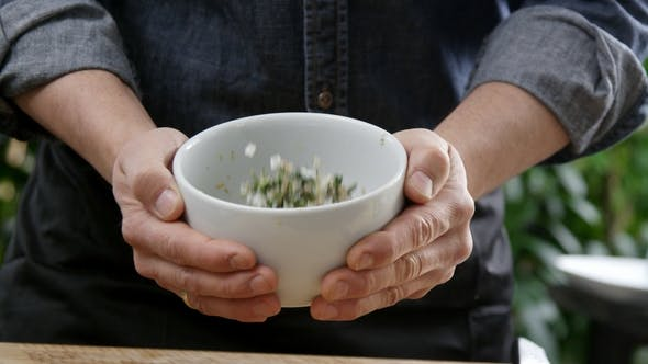 Herbs Mixing in Bowl