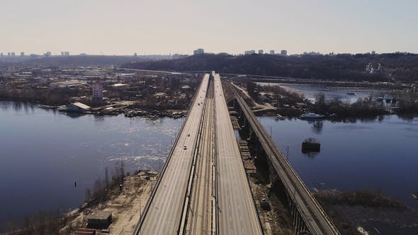 Thumbnail for Aerial View of the City Traffic on the Bridge. Darnitskiy Bridge, Kiev, Ukraine