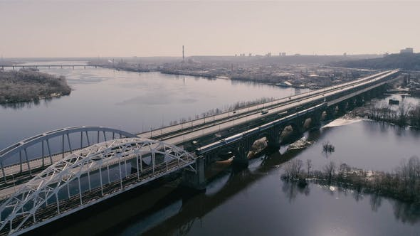 Thumbnail for Aerial View of the City Traffic on the Bridge. Darnitskiy Bridge, Kiev, Ukraine