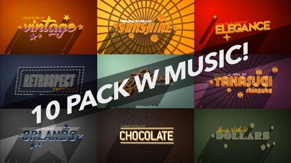 4K Vintage Retro 10 Logo Text Intro Pack