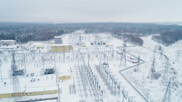 Thumbnail for Electrical Transmission Station Among Snow and Woods
