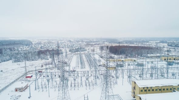 Thumbnail for Electrical Substation with Towers and Wires in Winter