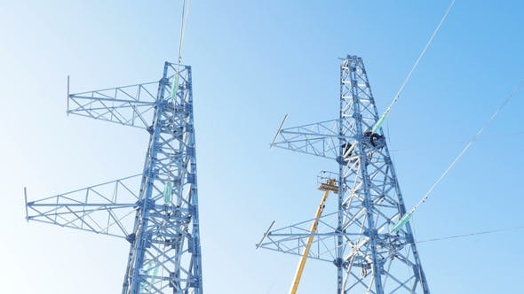 Thumbnail for Transmission Towers and Crane Ground with Employee