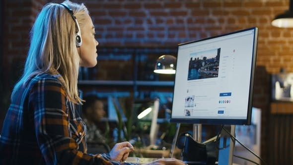 Thumbnail for Girl Surfing Internet at Workplace