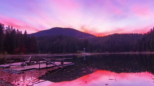 Thumbnail for Autumn Sunset at Mountain Lake with Colorful Trees in the Forest