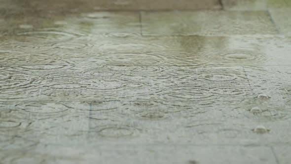 Heavy raining outside in slow motion