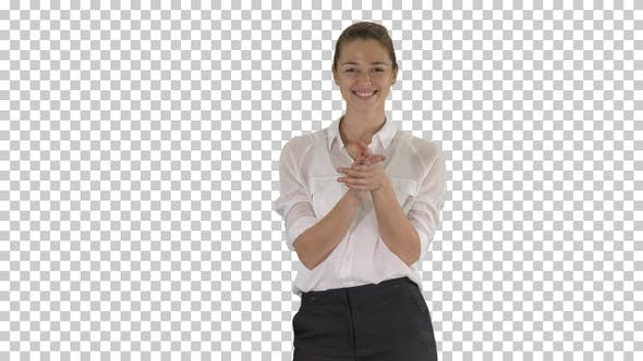 Happy Young Businesswoman Clapping Hands, Alpha Channel
